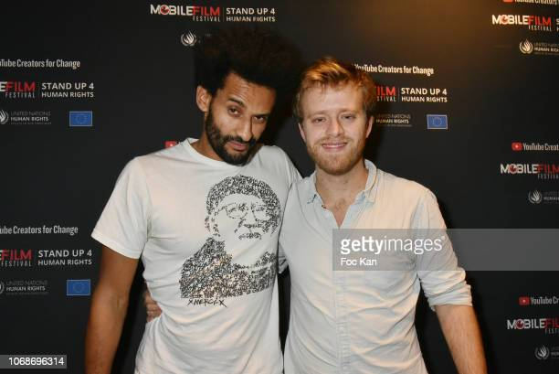 Actor David Saada and director Florent Sabatier attends the 'Mobile Film Festival Stand Up 4 Human Rights Awards' Ceremony Hosted by Youtube Creators...