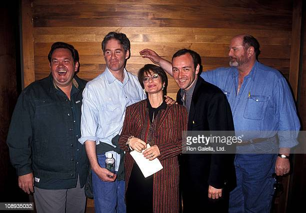 Actor David Schramm actor Kevin Kline actress Patti LuPone actor Kevin Spacey and actor David Ogden Stiers attend The Juilliard School's Drama...