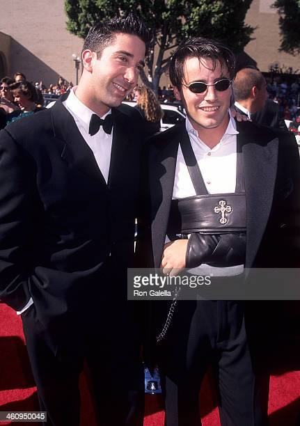 Actor David Schwimmer and actor Matt LeBlanc attend the 48th Annual Primetime Emmy Awards on September 8 1996 at the Pasadena Civic Auditorium in...