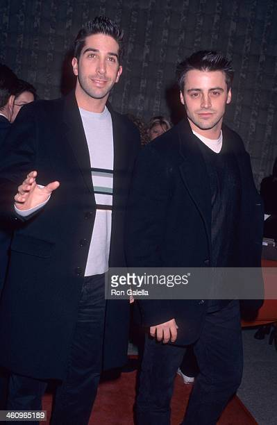 Actor David Schwimmer and actor Matt LeBlanc attend the 'Scream' Westwood Premiere on December 18 1996 at the AMC Avco Cinema in Westwood California