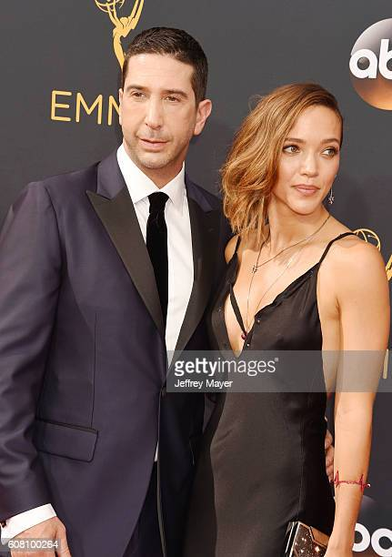 Actor David Schwimmer and wife/artist/photographer Zoe Buckman arrive at the 68th Annual Primetime Emmy Awards at Microsoft Theater on September 18...