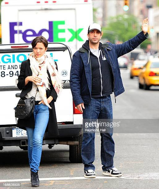 Actor David Schwimmer and Zoe Buckman are seen in Soho on May 15 2013 in New York City