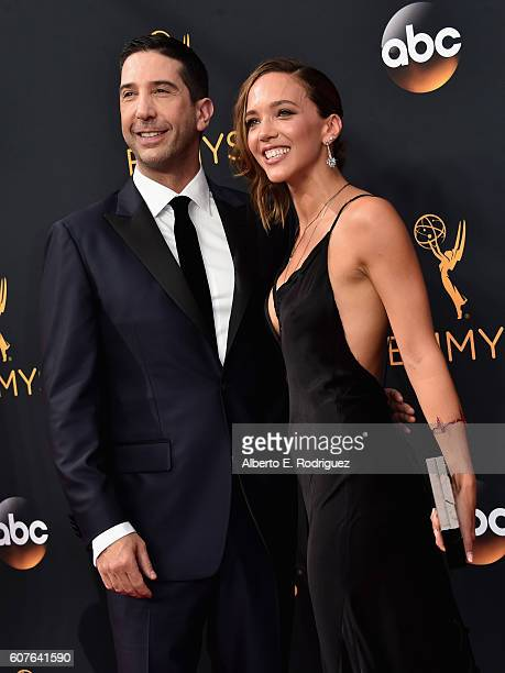 Actor David Schwimmer and Zoe Buckman attend the 68th Annual Primetime Emmy Awards at Microsoft Theater on September 18 2016 in Los Angeles California