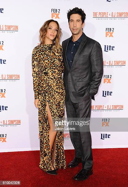 Actor David Schwimmer and Zoe Buckman attend the premiere of 'American Crime Story The People V OJ Simpson' at Westwood Village Theatre on January 27...