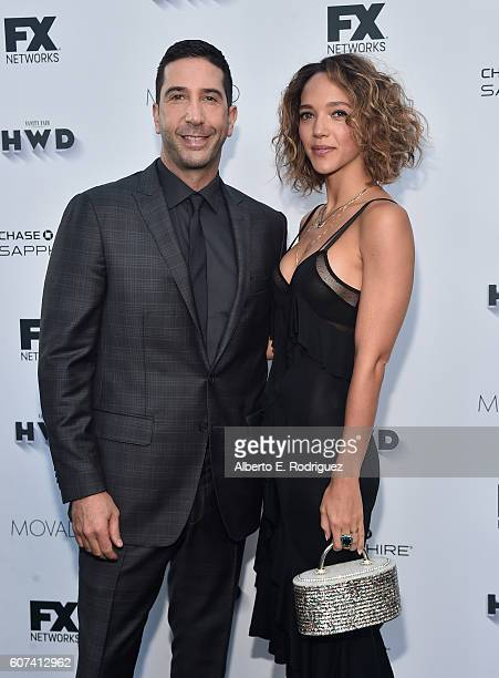 Actor David Schwimmer and Zoe Buckman attends the Vanity and FX Annual Primetime Emmy Nominations Party at Craft Restaurant on September 17 2016 in...