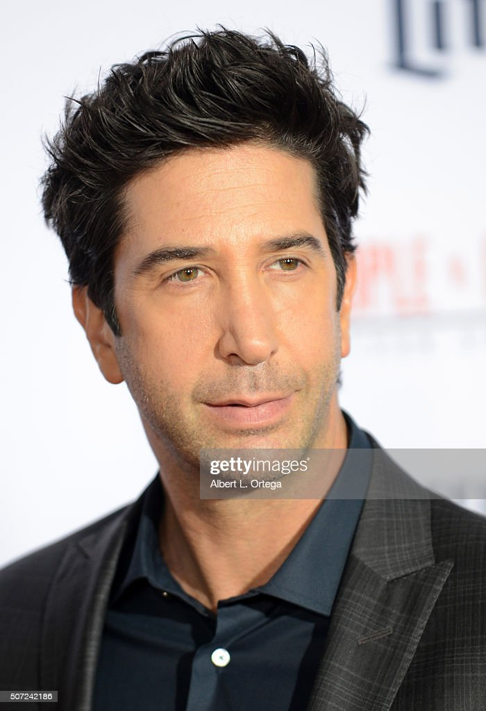 Actor David Schwimmer arrives for Premiere Of 'FX's 'American Crime Story - The People V. O.J. Simpson' held at Westwood Village Theatre on January 27, 2016 in Westwood, California.