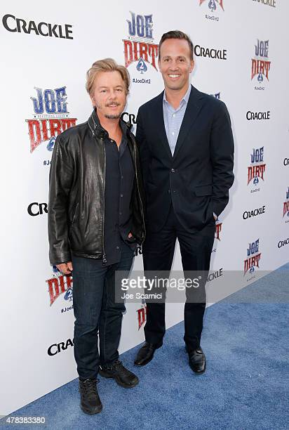 Actor David Spade and EVP GM of Crackle GM of Digital Sony Pictures Television Eric Berger attend the world premiere of Crackle's Joe Dirt 2...