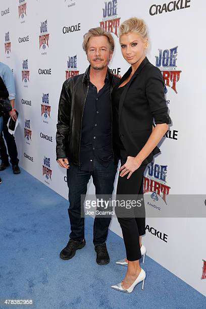 Actor David Spade and model/actress Charlotte McKinney attend the world premiere of Crackle's Joe Dirt 2 Beautiful Loser at Sony Pictures Studios on...
