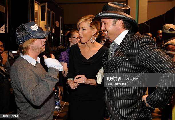 Actor David Spade, singer Faith Hill and musician Tim McGraw backstage at the 2009 MusiCares Person of the Year Tribute to Neil Diamond at the Los...