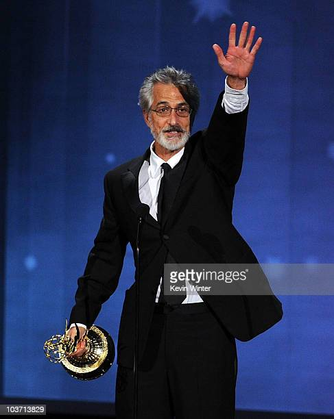 Actor David Strathairn accepts the Outstanding Supporting Actor in a Miniseries or Movie award onstage at the 62nd Annual Primetime Emmy Awards held...
