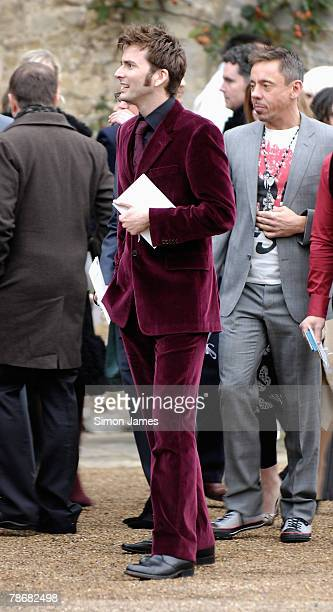 Actor David Tennant leaves the wedding of Billie Piper and Laurence Fox at The Parish Church of St Mary on December 31, 2007 in Easebourne, West...