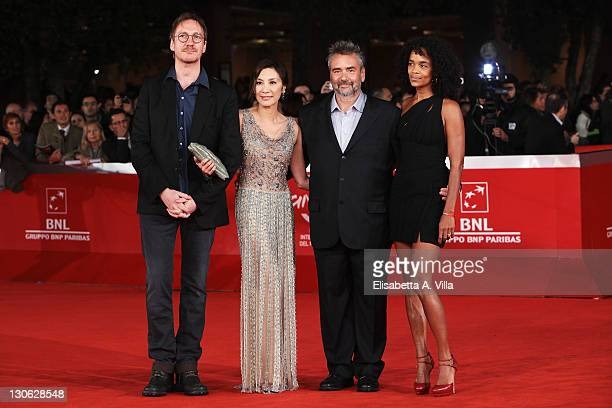 Actor David Thewlis actress Michelle Yeoh director Luc Besson and producer Virginie Silla attend 'The Lady' Premiere and Opening Ceremony during 6th...