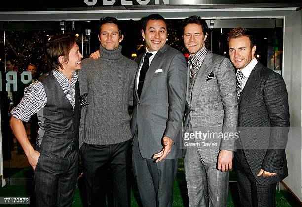 Actor David Walliams and Take That members Mark Owen Jason Orange Howard Donald and GAry Barlow arrive at the UK premiere of 'Star Dust' at the Odeon...