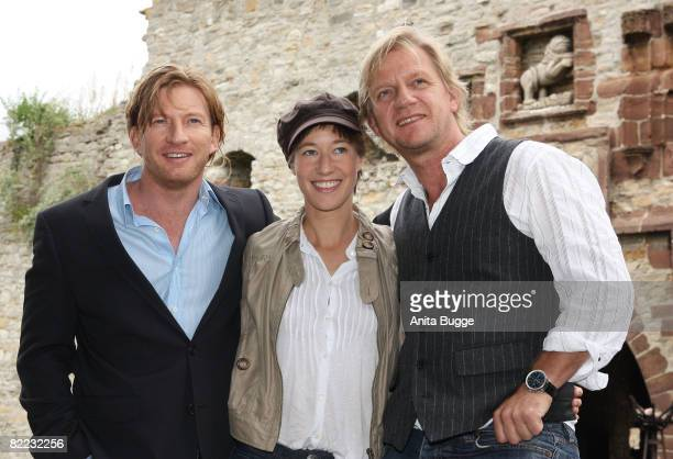 Actor David Wenham actress Johanna Wokalek and director Soenke Wortmann attend the 'Pope Joan' press conference on August 9 2008 in Querfurth Germany