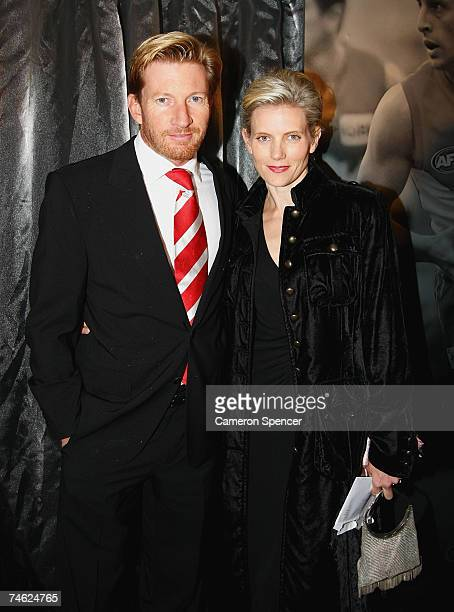 Actor David Wenham and his partner Kate Agnew pose during the Sydney Swans Anniversary Dinner at the Entertainment Quarter June 14 2007 in Sydney...