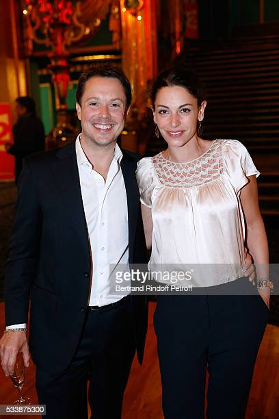 Actor Davy Sardou and his wife actress Noemie Elbaz attend La 28eme Nuit des Molieres on May 23 2016 in Paris France