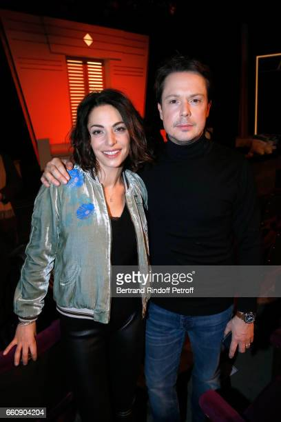 Actor Davy Sardou and his wife actress Noemie Elbaz attend the Hotel des deux mondes Theater Play at Theatre Rive Gauche on January 26 2017 in Paris...