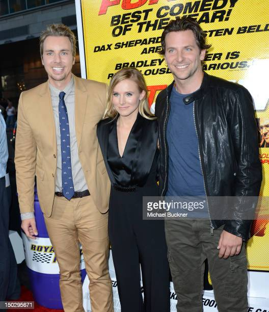"""Actor Dax Shepard, actress Kristen Bell and actor Bradley Cooper arrive at the premiere of Open Road Films' """"Hit & Run"""" at the Regal Cinemas L.A...."""