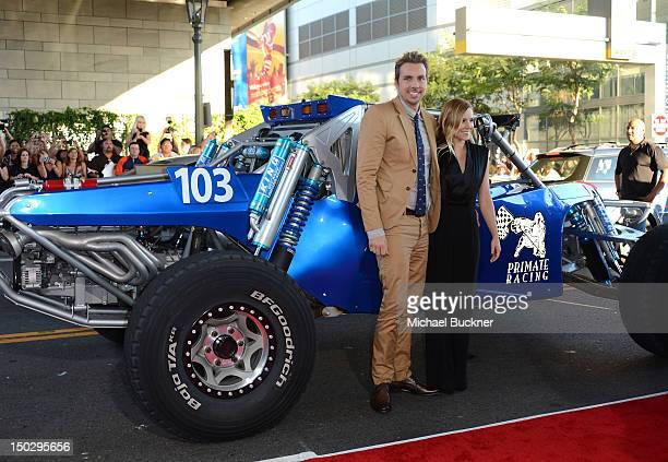 """Actor Dax Shepard and actress Kristen Bell arrive at the premiere of Open Road Films' """"Hit & Run"""" at the Regal Cinemas L.A. Live on August 14, 2012..."""
