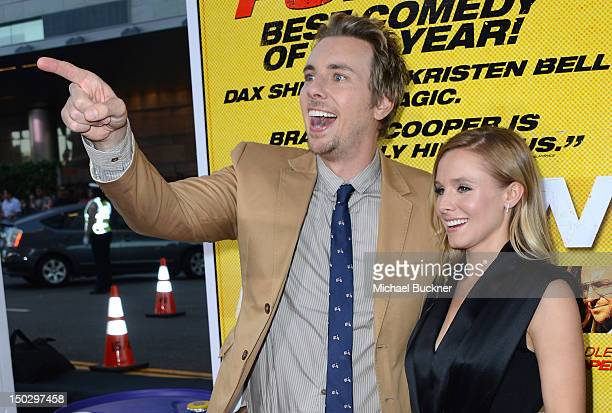 Actor Dax Shepard and actress Kristen Bell arrive at the premiere of Open Road Films' 'Hit Run' at the Regal Cinemas LA Live on August 14 2012 in Los...