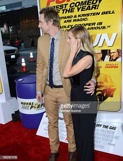 Actor Dax Shepard and actress Kristen Bell arrive at the premiere of Open Road Films' Hit Run at the Regal Cinemas LA Live on August 14 2012 in Los...