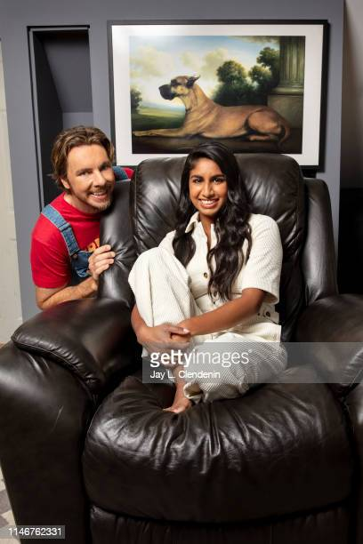 Actor Dax Shepard and 'Armchair Expert' podcast co-host MOnica Padman are photographed for Los Angeles Times on April 18, 2019 in Los Angeles,...