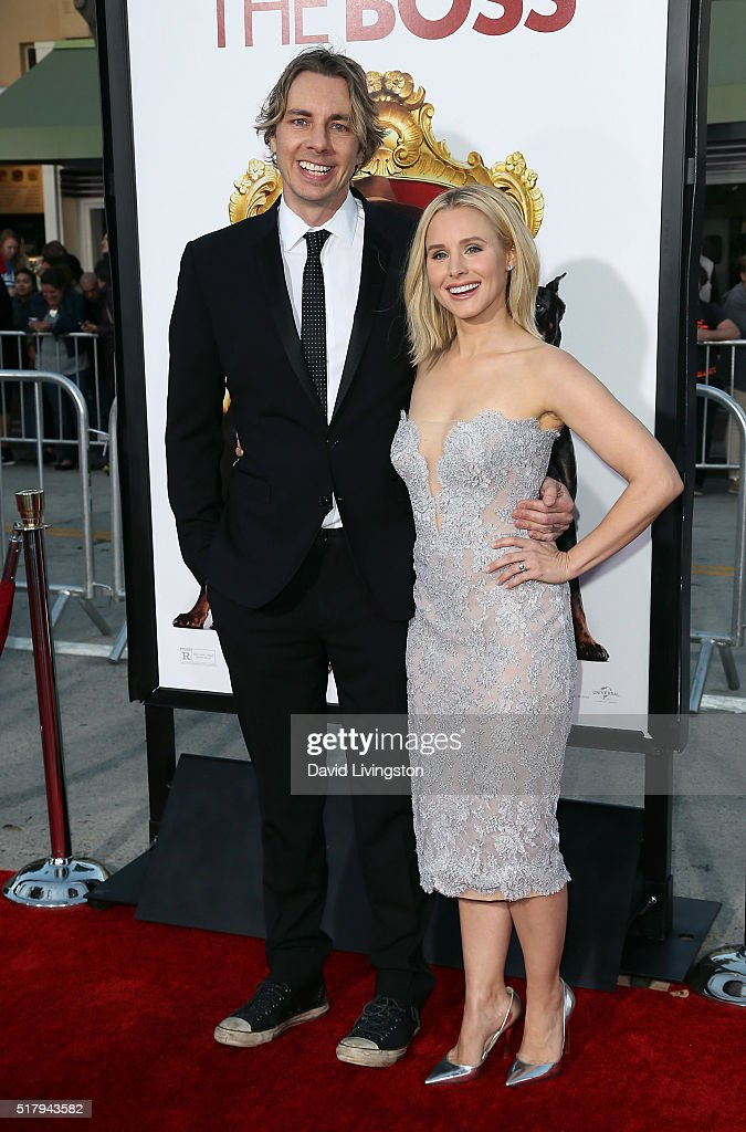 Actor Dax Shepard (L) and wife actress Kristen Bell attend the premiere of USA Pictures' 'The Boss' at the Regency Village Theatre on March 28, 2016 in Westwood, California.