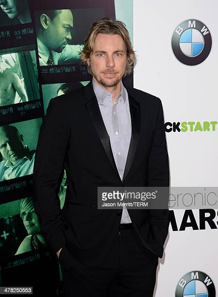 """Actor Dax Shepard arrives at the Los Angeles premiere of """"Veronica Mars"""" at TCL Chinese Theatre on March 12, 2014 in Hollywood, California."""