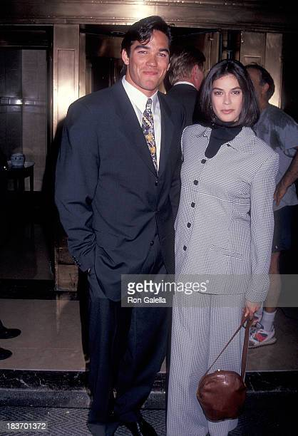 Actor Dean Cain and actress Teri Hatcher leave for the ABC Sponsors Meeting on May 11 1993 at the Westbury Hotel in New York City