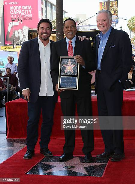 Actor Dean Cain talk show host Larry Elder and actor Jon Voight attend Larry Elder being honored with a Star on the Hollywood Walk of Fame on April...