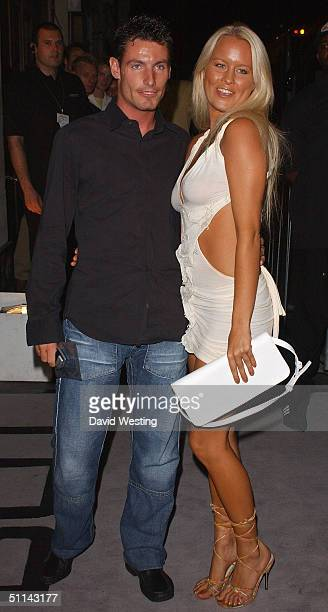 Actor Dean Gaffney and friend model Anna Taverner attend the afterparty following the UK Premiere of 'I Robot' on August 4 2004 at Fabric in London