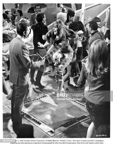 Actor Dean Martin and actress AnnMargret on set of the Columbia Pictures movie 'Murderers' Row' in 1966