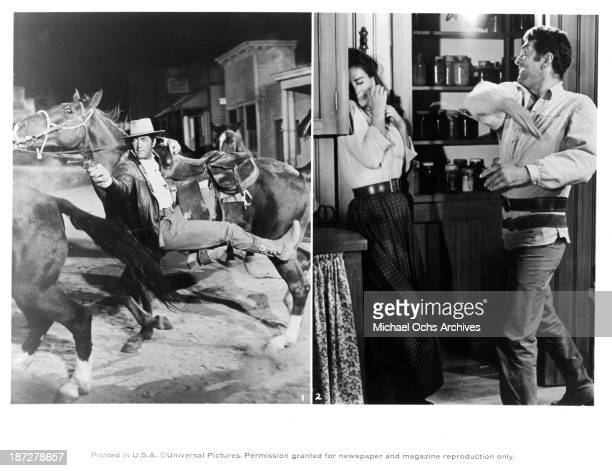 Actor Dean Martin on set Actress Jean Simmons and actor Dean Martin on set of the Universal Studio movie Rough Night in Jericho in 1967