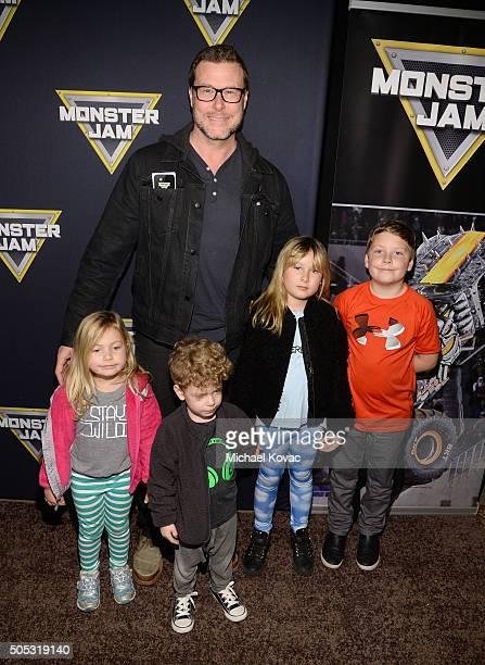 Actor Dean McDermott and children Hattie McDermott Finn McDermott Stella McDermott and Liam McDermott attend Monster Jam Celebrity Night at Angel...