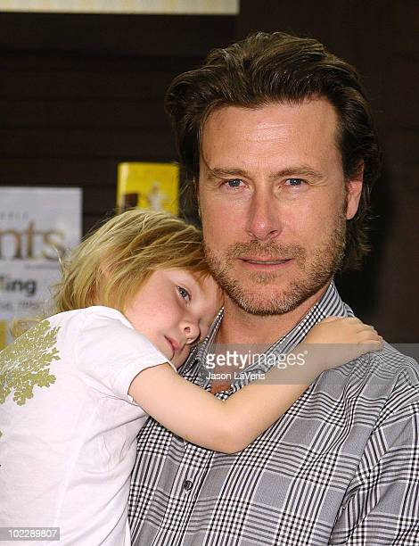 """Actor Dean McDermott and son Liam McDermott attend Tori Spelling's book signing of """"Uncharted TerriTORI"""" at Barnes & Noble bookstore at The Grove on..."""
