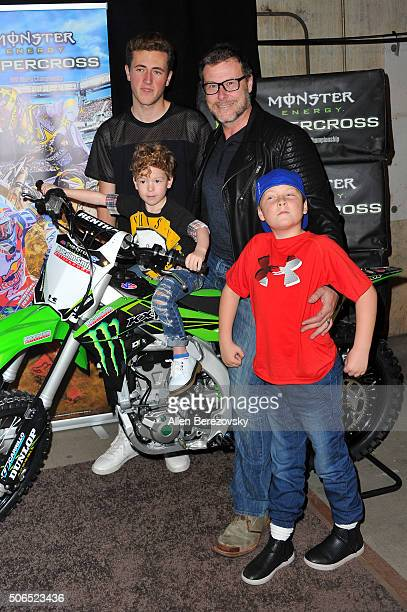 Actor Dean McDermott and sons Jack McDermott Liam McDermott and Fin McDermott attend Monster Energy Supercross at Angel Stadium of Anaheim on January...