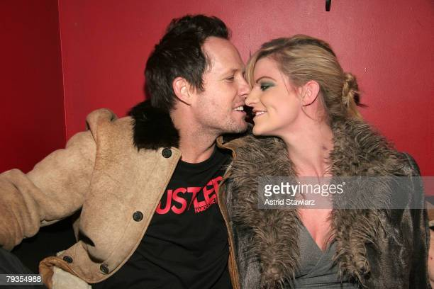 Actor Dean Winters and girlfriend designer Dara Young attends Crush Management OK Magazine's Viva La Karaoke at Angels Kings on January 28 2008 in...