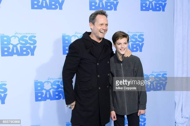Actor Dean Winters and guest attend 'The Boss Baby' New York Premiere at AMC Loews Lincoln Square 13 theater on March 20 2017 in New York City