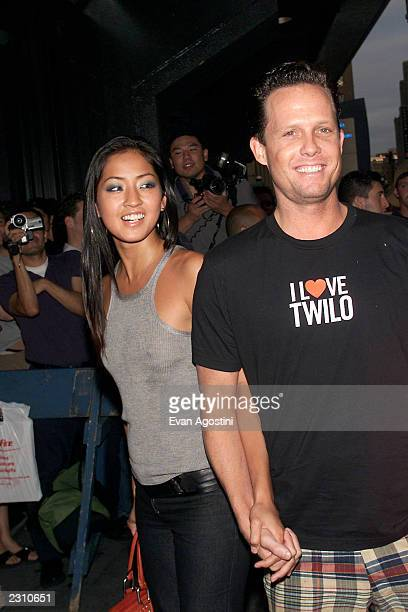 Actor Dean Winters with girlfriend Fannie Chan arrive to see Madonna's 'Drowned World' concert at Madison Square Garden in New York City Photo Evan...