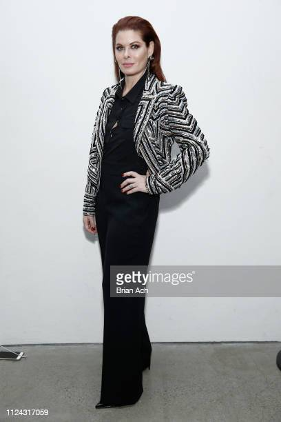 Actor Debra Messing poses backstage for Naeem Khan fashion show during New York Fashion Week: The Shows at Gallery I at Spring Studios on February...