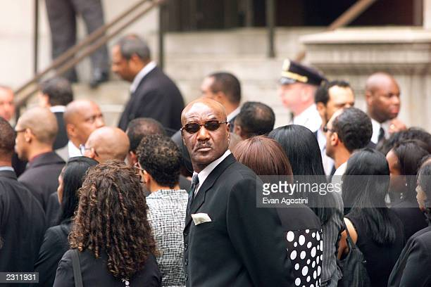 Actor Delroy Lindo arrives at RB singer Aaliyah's funeral at St Ignatius Loyola Roman Catholic Church in New York City 8/31/2001 Photo Evan...