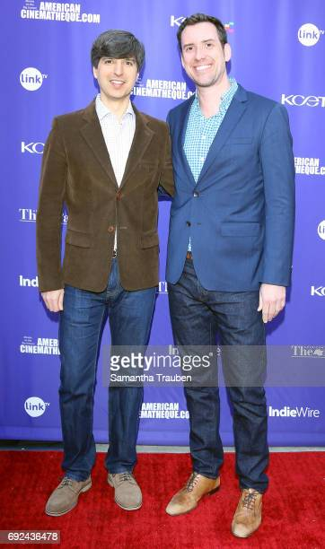 Actor Demetri Martin and KCETLink CEO Michael Riley attend a screening of the winners of the Fine Cut Festival of Films hosted by KCET and Link TV at...