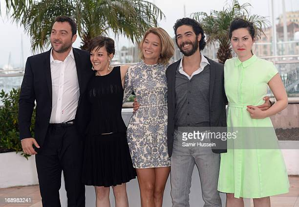 Actor Denis Menochet actress Camille Lellouche Lea Seydoux actor Tahar Rahim and director Rebecca Zlotowski attends the 'Grand Central' Photocall...