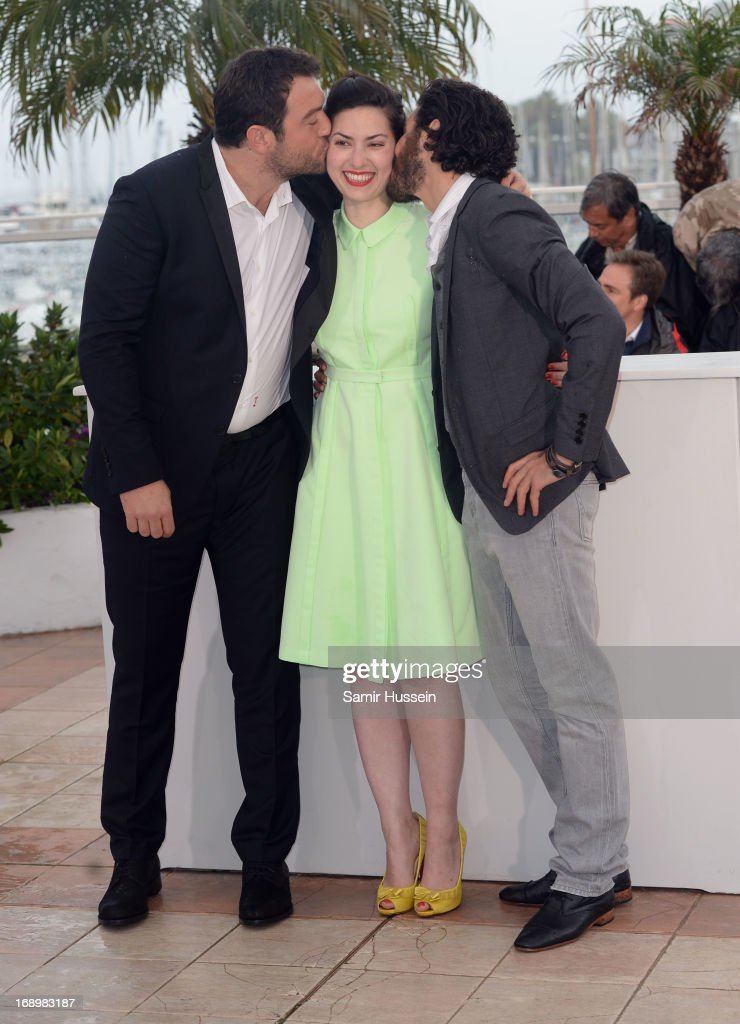 Actor Denis Menochet, Director Rebecca Zlotowski and actor Tahar Rahim attend the 'Grand Central' Photocall during The 66th Annual Cannes Film Festival at Palais des Festivals on May 18, 2013 in Cannes, France.