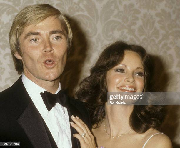 Actor Dennis Cole and actress Jaclyn Smith attend 37th Annual Golden Globe Awards on January 16 1980 at the Beverly Hilton Hotel in Beverly Hills...