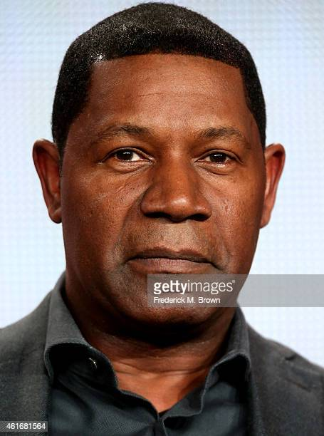 Actor Dennis Haysbert speaks onstage during the 'Backstrom' panel discussion at the FOX portion of the 2015 Winter TCA Tour at the Langham Hotel on...
