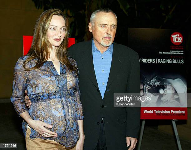 Actor Dennis Hopper and his wife Victoria arrive at a screening of the documentary Easy Riders Raging Bulls followed by a questions and answers...