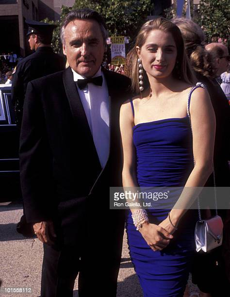 Actor Dennis Hopper and wife Katherine LaNasa attend 43rd Annual Primetime Emmy Awards on August 25 1991 at the Pasadena Civic Auditorium in Pasadena...