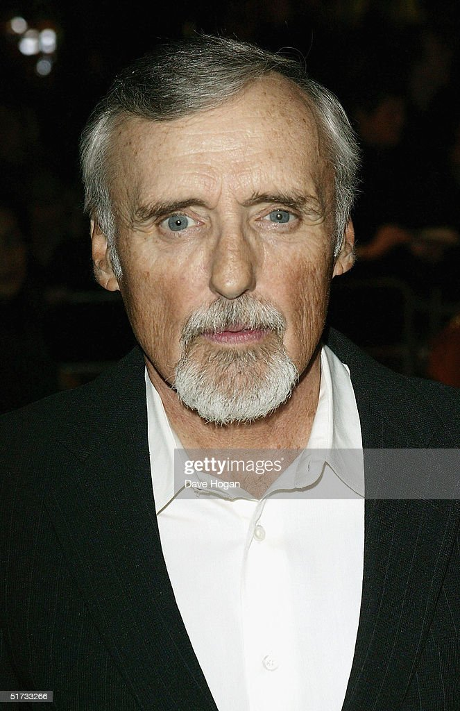 Actor Dennis Hopper arrives at the final of 'UK Music Hall Of Fame', the Channel 4 series looking at popular music from the 1950's to the 1990's, at the Hackney Empire on November 11, 2004 in London. Jamie Theakston has, for the past few weeks, been asking the public to vote on who should enter Channel 4's Hall Of Fame, and the winners are inducted this evening.