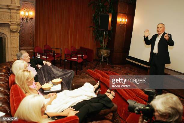 """Actor Dennis Hopper introduces his film at a special screening of """"The Last Movie"""", newly restored, at the Playboy Mansion on May 31, 2005 in Holmby..."""